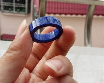 Natural lapis lazuli rings, lapis lazuli rings flat, perfect lapis lazuli - size 9.5, you can customize the size of the (US 6-12 mm)