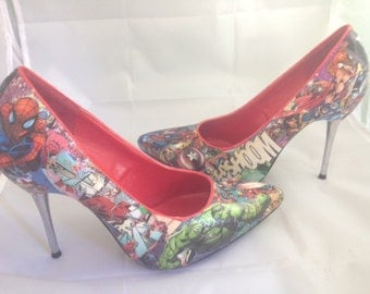 Superhero Comic Book Shoes, Superhero Heels, Unique and One of a Kind.