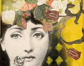 Small acrylic painting, flower, Fornasetti, green, bunt, women, face, Collage by Beate Frieling