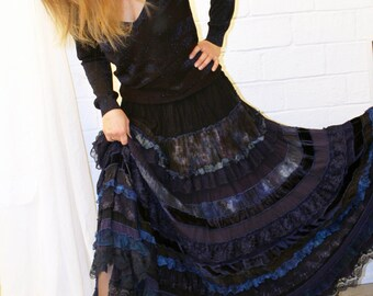 Picturesque luxurious blue tiered long skirt from silk and viscose. Boho chic style