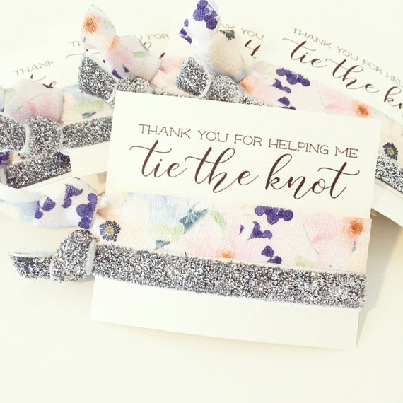 Hair Tie Bridesmaid Gift | Floral + Silver Glitter Hair Tie Bridal Shower Favors, Silver Blush Ivory Champagne Neutrals Metallic Sparkle