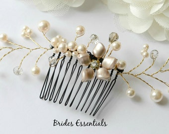 Floral Vines Comb, Fall Color Wedding Comb, Ivory White Gold Bridal Hair Comb, Bridal Hair Pieces, Bridesmaid Hair Comb, Wedding Hair Comb