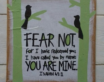 Isaiah 43:1 Bible verse on canvas