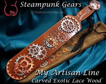Steampunk Gears, Select Exotic Lace Wood, includes Gear embroidered Pouch & Shibari wrist strap.