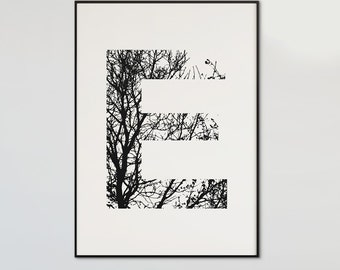 Minimal Art Letter Print, Custom Letter of your choice, minimal printable art, Digital Download, black and white, nature tree print