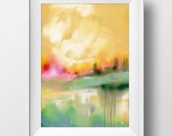 Printable Abstract Landscape , Printable wall art, original art, instant Digital Download, sunset, sky, minimal decor, watercolor