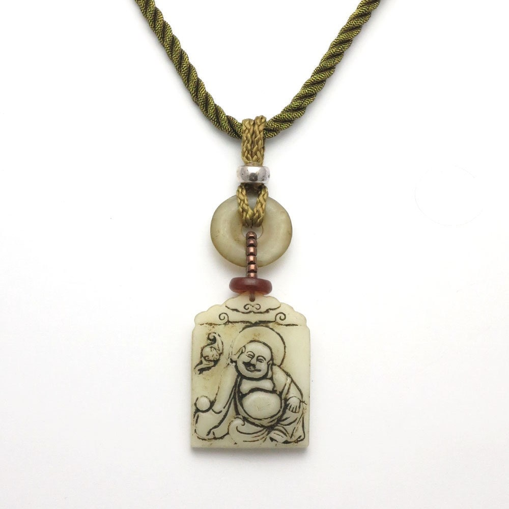 laughing buddha jade pendant necklace jade jewelry by