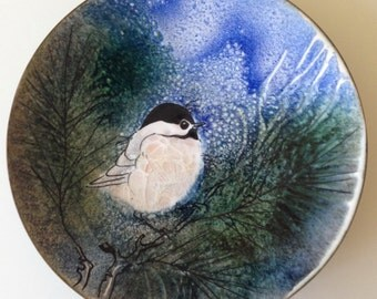 """Vintage Norman Brumm Hand Painted Chickadee in a Tree Enamel on Copper Dish 7"""""""