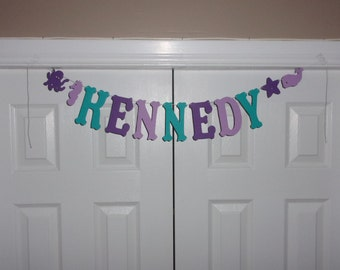 PERSONALIZED NAME/PHRASE Letter Banner - Teal, Dark Purple & Light Purple Cardstock Paper Under the Sea Creature Animal Birthday Baby Shower