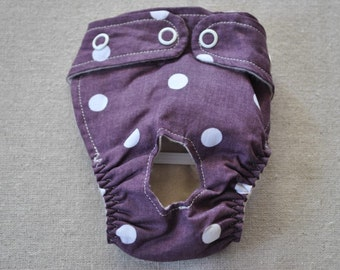 FREE SHIPPING. Dog diaper. In season diaper. Dog panty. Purple Polka Dot. XX-Small