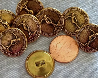 "Lot of 8 Antiqued Brass Tone Metal Shank Buttons Hollow Puffed Disc Discus Thrower Discobolus 3/4"" 19mm # 7468"