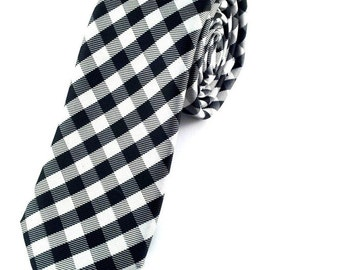 Mens Tie Black White Grey Checkered 6.5 cm Skinny tie. Slim Tie. Narrow Thin Tie. Skinny Tie. Formal Necktie. Black Necktie. Skinny tie
