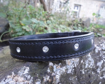 "Diamante Leather Dog Collar, 5/8"", 3/4"", 1"" and 1 1/4"" Widths Avaiable, Handmade"