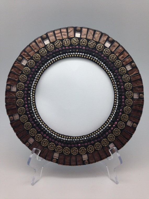 Handmade 10 Inch Round Brown Purple Green Mosaic Mirror