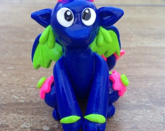 Polymer Clay Blue Dragon Figure