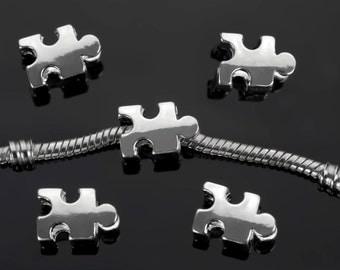 2PCs Autism Awareness Puzzle Piece Beads Puzzle Piece Charms Fit European Charm Bracelets