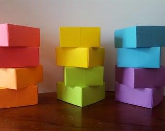 Rainbow Origami Gift Boxes - Set of 12