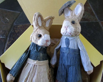 Paper Mache Rabbit Couple Cake Topper