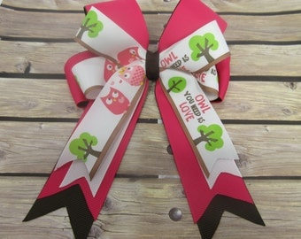 Pink and Brown Owl Stacked Tails Down Hair Bow, Cheer Bow
