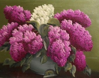 Antique Oil Painting Still Life With Lilac