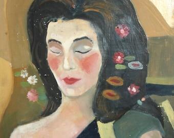 Vintage oil painting expressionist portrait