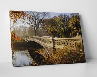 New York City Central Park Bow Bridge Skyline Gallery Wrapped Canvas Print