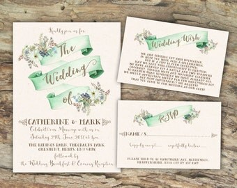 Personalised Rustic Watercolour Banner Mint Green Wedding Invitations