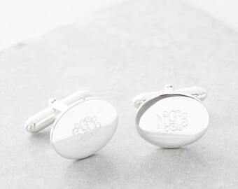 Personalised Silver Monogram Cufflinks, Monogram engraving, monogram cufflinks, oval cufflinks, personalised cufflinks, message cufflinks