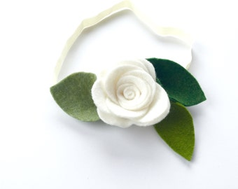 White Rose flower headband or alligator clip, rose headband, flower headband, ivory, white