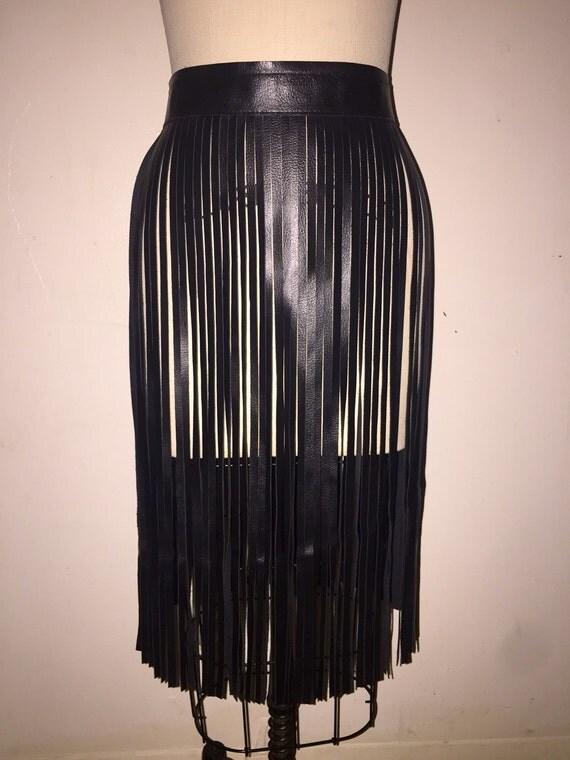 black fringe skirt belt black leather fringe belt by