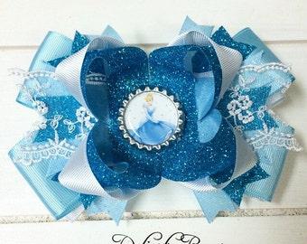 cinderella bow; cinderella boutique bow;  princess cinderella; princess bow; boutique bow; cinderella