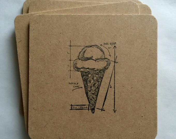 Ice Cream Diagram Coaster 6 Pack - handmade, hand stamped, retro cone old fashioned icecream gifts, rustic, flat rate shipping