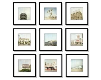 SALE, Los Angeles Print Set, Hollywood, California Photography, Malibu, Beach, Gallery Wall, Set of 9, Square Prints, 5x5, 8x8, 12x12