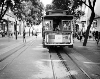 San Francisco Cable Car Photography, Black and White, Cable Car Photo, San Francisco Print, Streetcar, Fine Art Print, Home Decor