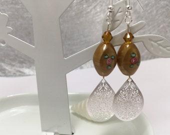 Brown earrings with prints ref 600