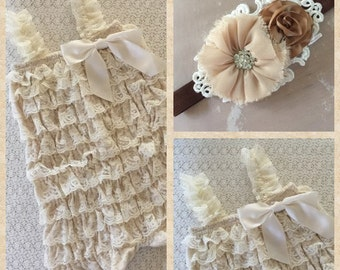 Champagne Lace Romper/Headband, Newborn Gift, Rustic Country Wedding, Flower Girl ,Vintage Shabby, Lace embellished, Photo Prop