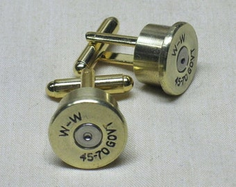 Bullet Cufflinks 45-70 Government Brass - Wedding Cuff Links Gifts