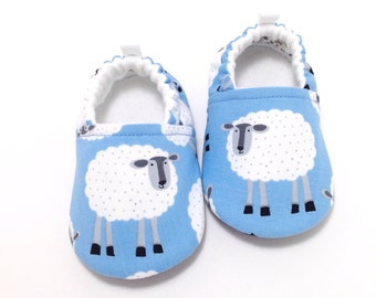 Blue Sheep Baby Shoes, Soft Sole Baby Shoes, Baby Booties, Baby shower gift, Toddler slippers