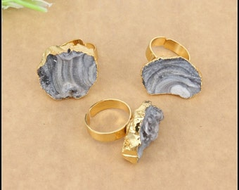 3pcs Fashion Natural Druzy Agate Ring in Nature color,Gold plated Druzy Gemstone Ring,Jewelry findings