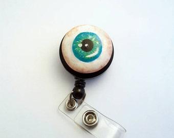 Eyeball halloween badge reel hand made
