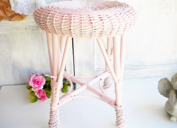 shabby chic vintage stool side table wicker stool repurposed. Black Bedroom Furniture Sets. Home Design Ideas