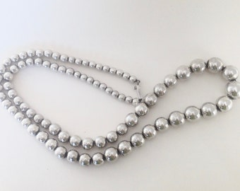 Vintage 1988 Sterling Silver Beaded Necklace from Taxco Mexico