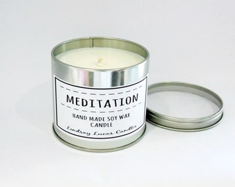 Meditation Candle, Yoga Candle, Scented Candle, Tin Candle, Meditation Scented Candle, Relaxing Scent, Relaxing Candle, Strong Candle