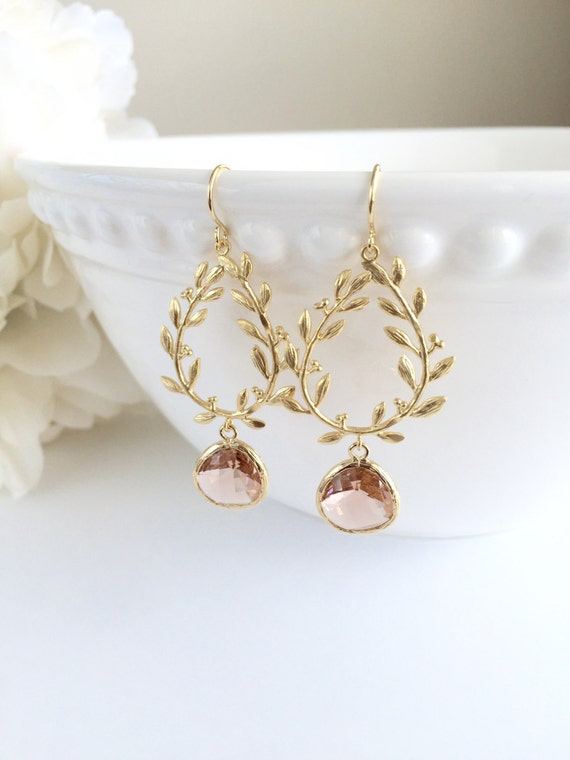 Peach Champagne Crystal Gold Leaf Earrings