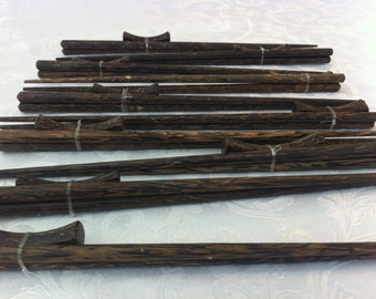 10 NEW Vtg African Beautiful Hardwood Chopsticks and Rest, Zimbabwe