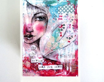 be the divine that you seek, art card - by Toni Burt - quote, angel wings, mixed media art, soul spiritual, daughter sister best friend card
