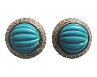 Valentino Turquoise And Rhinestone Earrings Vintage 1980