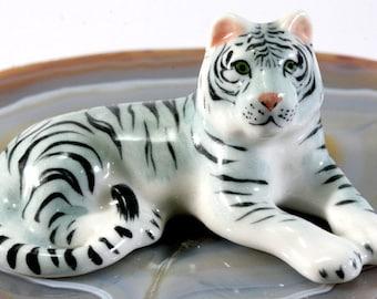 White tiger - handpainted porcelain figurine  - 2701
