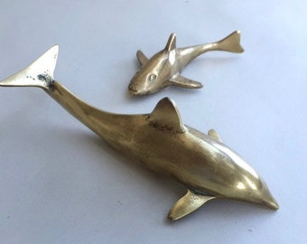 Pair of Aquatic Solid Brass Fishy Friends