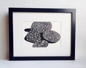 "Petoskey Stones handmade linocut print 5x7"" unframed (soft white).  Home decor, Michigan art, made in Michigan, petoskey stones art"